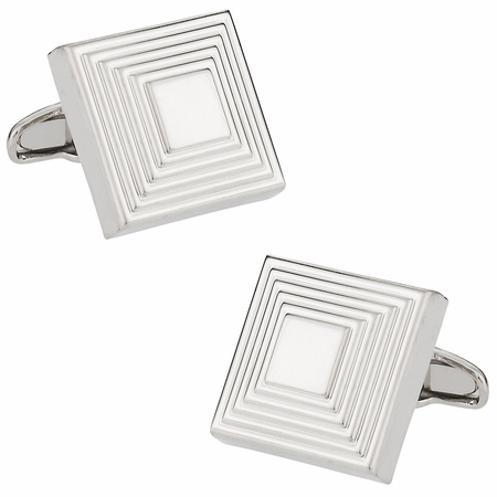The Steps Square Cufflinks in Silvertone