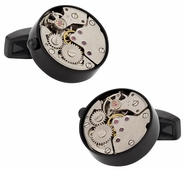 Working Black Watch Movement Steampunk Cufflinks
