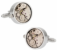Working Silver Watch Movement Steampunk Cufflinks with Glass Cover