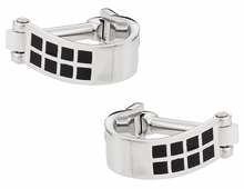 Wrap Around Cufflinks - Silver Black