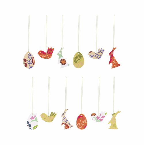12 Paper Easter Ornaments