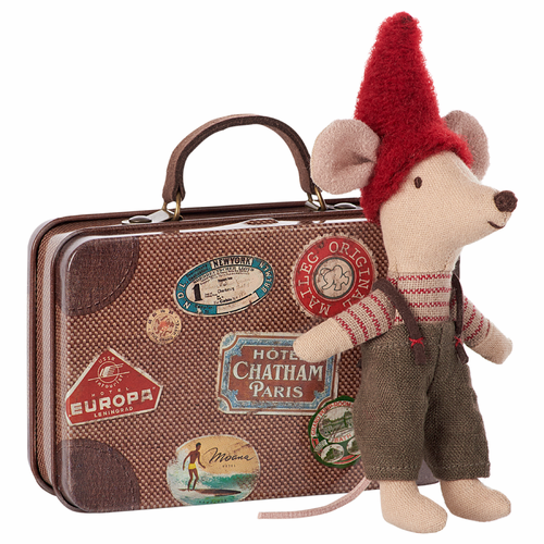 Danish Christmas Mouse in Travel Suitcase - 6 LEFT