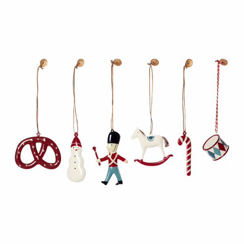 6 Classic Red / White Metal Ornaments in Box