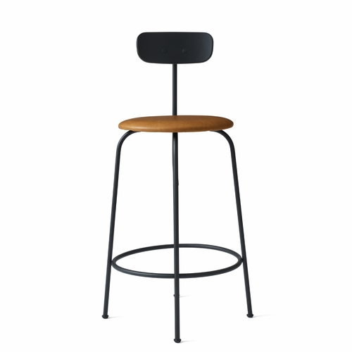 Afteroom Counter Stool, Black/Cognac Leather