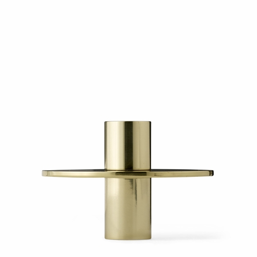 Antipode Candle Holder, Wide, Shiny Brass