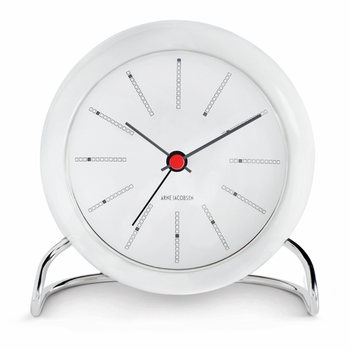 Arne Jacobsen Banker's Table Clock, White