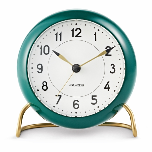 Arne Jacobsen Station Table Clock, Copenhagen Green