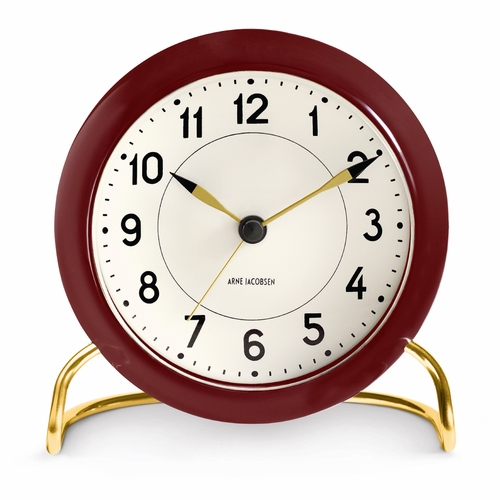 Arne Jacobsen Station Table Clock, Modern Burgandy