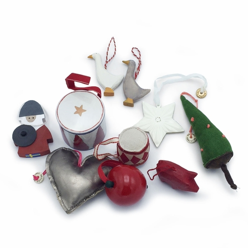 Assorted Scandinavian Ornaments, Set of 10 with Tin Drum Set