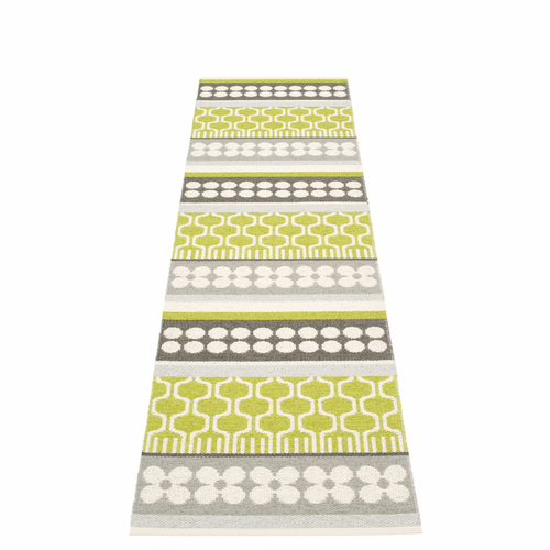 Pappelina Asta Plastic Rug - Lime, 2 1/4' x 8 3/4'