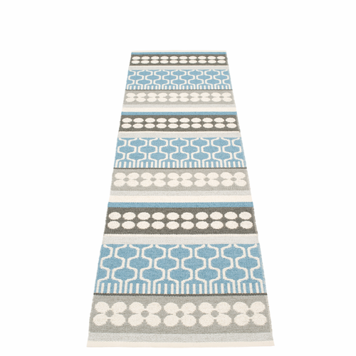 Pappelina Asta Plastic Rug - Misty Blue, 2 1/4' x 8 3/4'