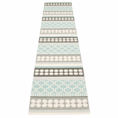 Pappelina Asta Plastic Rug - Pale Turquoise, 2 1/4' x 11 3/4'