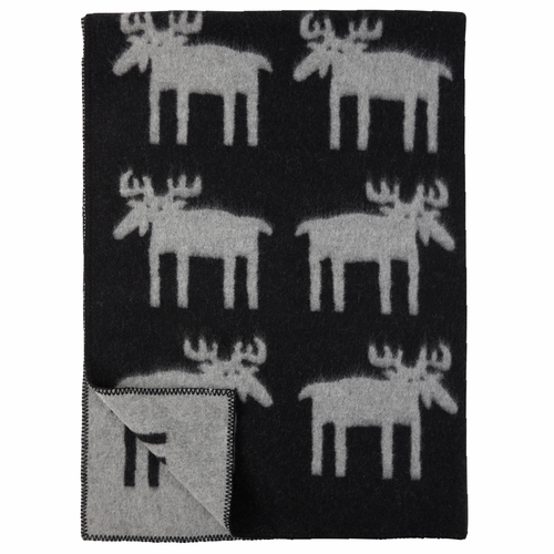 Alg (Moose) Lambs Wool Blanket, Black