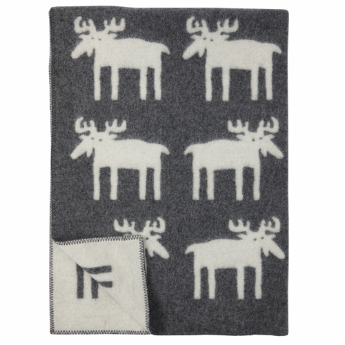 Alg (Moose) Lambs Wool Blanket, Grey