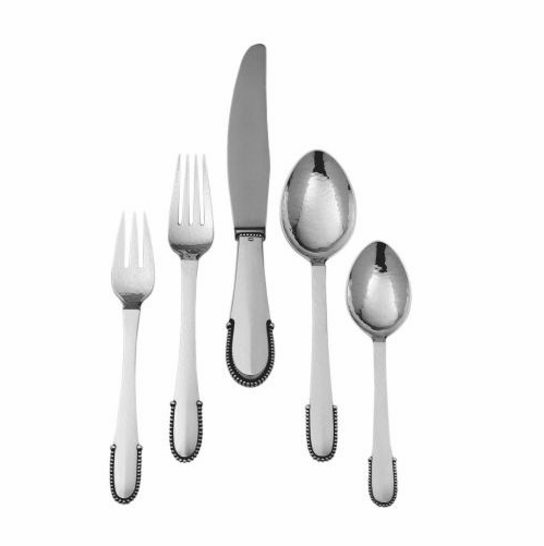 Georg Jensen Beaded 5-Piece Silver Cutlery Set