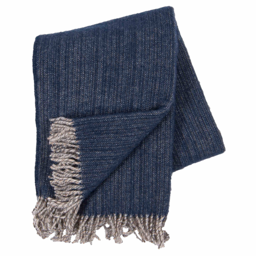 Bjork Brushed ECO Lambs Wool Throw, Navy Blue