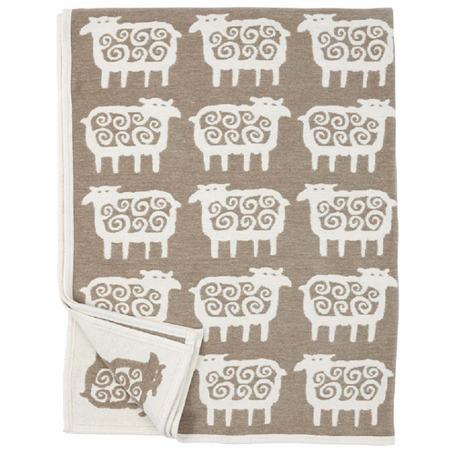 Black Får (Sheep) Organic Cotton Chenille Blanket, Beige