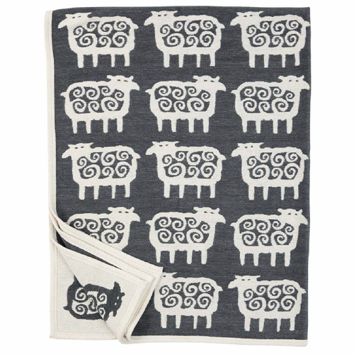 Klippan Black Far (Sheep) Organic Cotton Chenille Blanket, Dark Grey