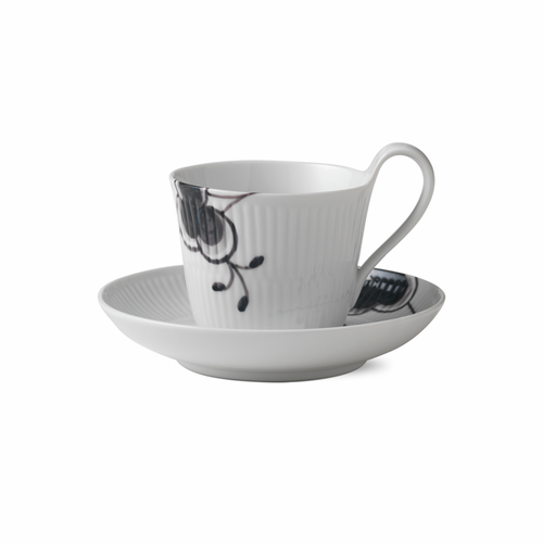 Black Fluted Mega High Handle Cup and Saucer #2, 8.5oz