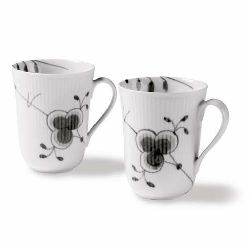 Black Fluted Mega Mug, Set of 2