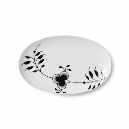 Black Fluted Mega Oval Accent Dish, 9""