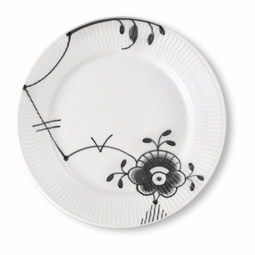 Black Fluted Mega Salad/Dessert Plate #6