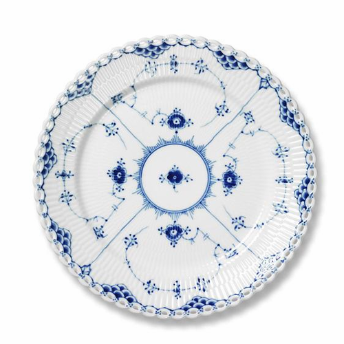 Blue Fluted Full Lace Bread & Butter Plate