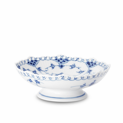 """Blue Fluted Full Lace Cake Dish on low foot 6.75"""", 2.5"""""""