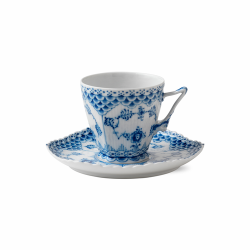Blue Fluted Full Lace Coffee Cup and Saucer