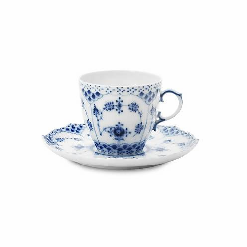 Blue Fluted Full Lace Coffee Cup & Saucer 5.25oz