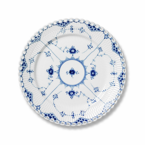 """Blue Fluted Full Lace Luncheon Plate 8.75"""""""
