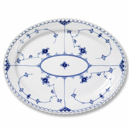 Blue Fluted Full Lace Oval Platter