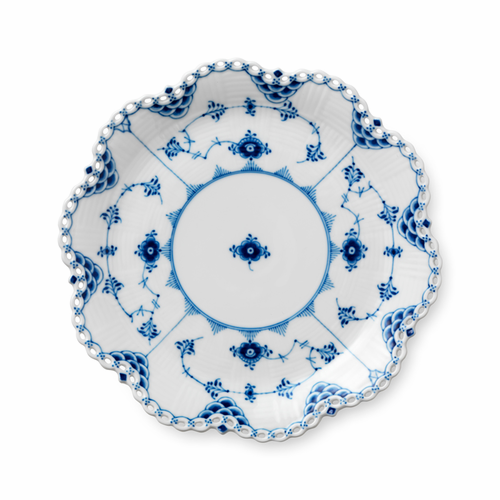 """Blue Fluted Full Lace Round Dish, 9.75"""""""