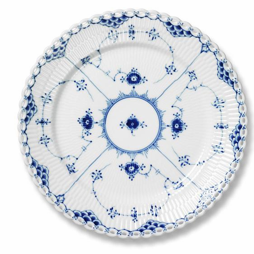 Blue Fluted Full Lace Salad/Dessert Plate