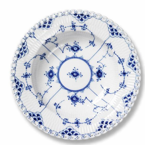Blue Fluted Full Lace Soup Plate