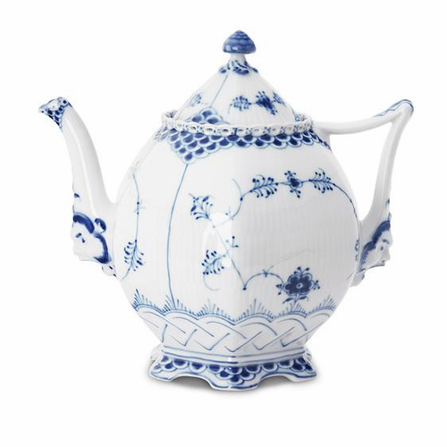 Blue Fluted Full Lace Teapot