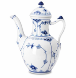 Blue Fluted Half Lace Coffee Pot