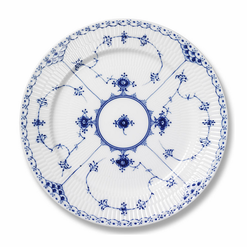 Blue Fluted Half Lace Five Piece Place Setting