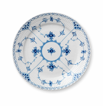 """Blue Fluted Half Lace Luncheon Plate, 9.75"""""""