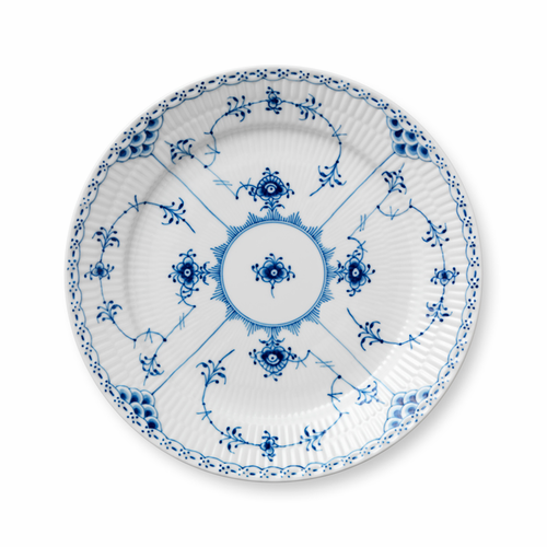 Blue Fluted Half Lace Luncheon Plate, 9.75""