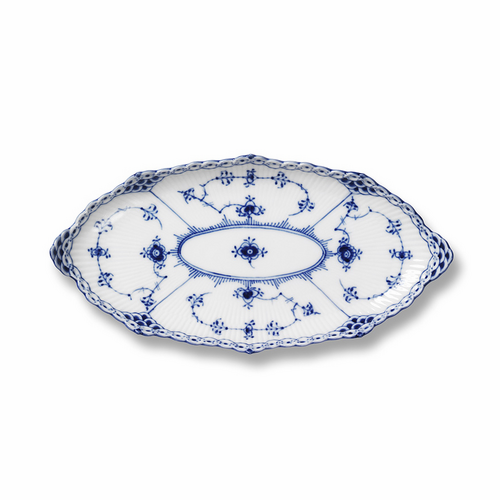 "Blue Fluted Half Lace Oblong Accent Dish, Asparagus Dish 9.25"" - 12 left"
