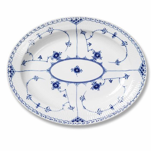 Royal Copenhagen Blue Fluted Half Lace Oval Platter