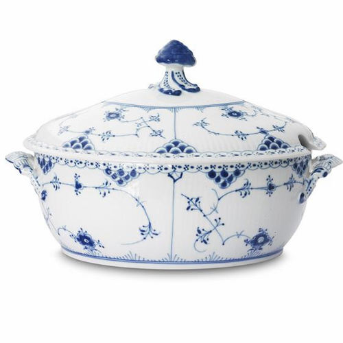 Blue Fluted Half Lace Oval Tureen