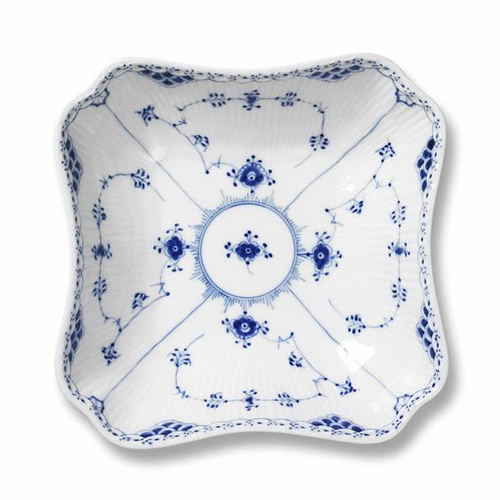 Blue Fluted Half Lace Square Serving Bowl