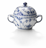 Blue Fluted Half Lace Sugar Bowl with Lid