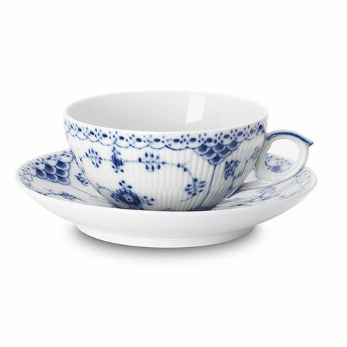 Royal Copenhagen Blue Fluted Half Lace Tea Cup & Saucer