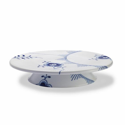 Blue Fluted Mega Cake Plate on Low Foot