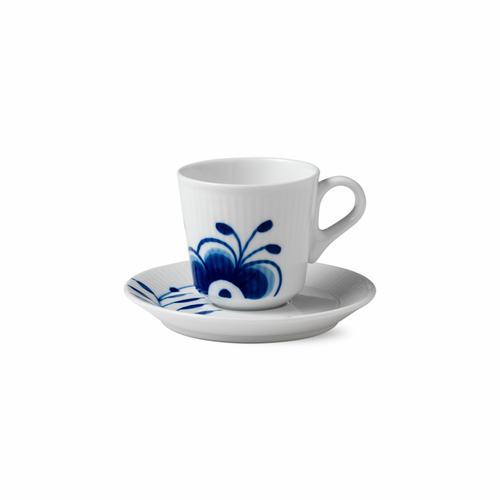 Blue Fluted Mega Espresso Cup and Saucer