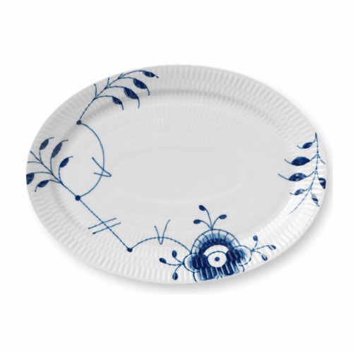 Royal Copenhagen Blue Fluted Mega Plate, Oval 11""