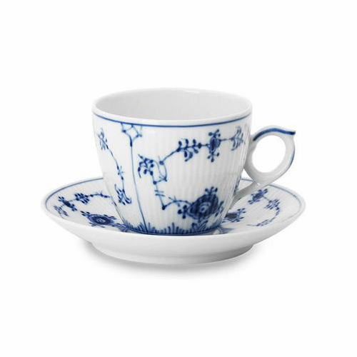 Blue Fluted Plain Coffee Cup & Saucer